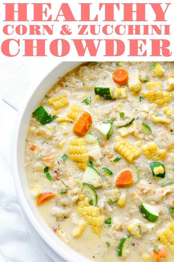 Healthy Corn and Zucchini Chowder. Filled with sweet summer corn, zucchini, cauliflower instead of flour and half and half instead of cream, this HEALTHY CORN AND ZUCCHINI CHOWDER will leave you feeling full and happy all summer long. #soup #chowder #healthysoup #souprecipe #cornsoup #cornchowder #summersoup #glutenfreesoup #chickensouprecipe #healthysouprecipe | For this recipe and more visit, https://theforkedspoon.com