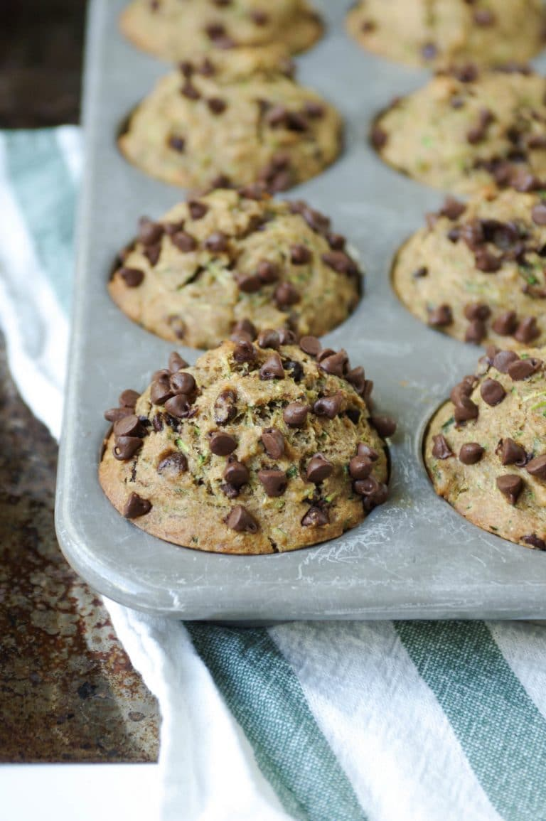 Healthy Zucchini Chocolate Chip Muffins - The Forked Spoon
