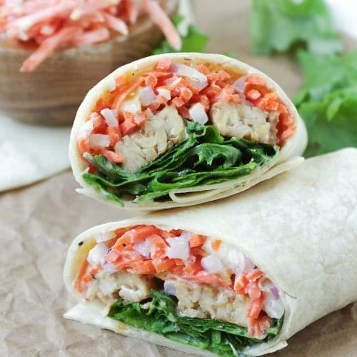 Smoky Tempeh Wraps with Tahini Carrot Slaw