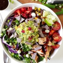 Southwestern Chicken Salad Bowl with Brown Rice + Guacamole