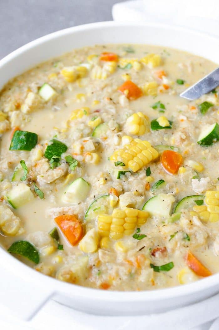 Close up image of soup pot filled with Summer Corn and Zucchini Chowder