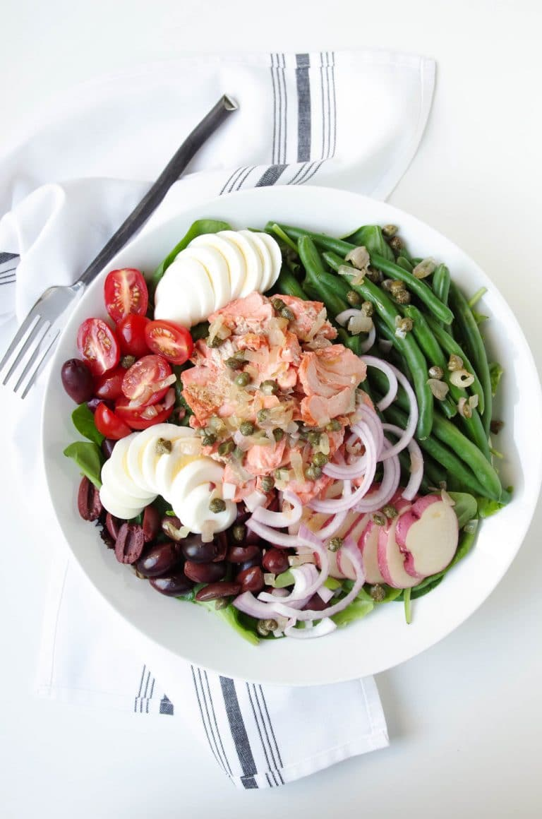 Salmon Nicoise Salad With Shallot Caper Vinaigrette The Forked Spoon