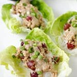 Peanut Miso Chicken Lettuce Wraps with Rice Noodles