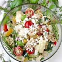 Herb and Bacon Pasta Salad with Feta Cheese