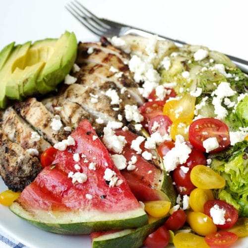 Grilled Romaine and Watermelon Salad with Chicken