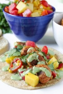 Spicy Shrimp Tacos with Mango Watermelon Salsa and Cilantro Lime Crema