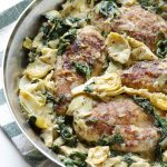 30 Minute Spinach and Artichoke Chicken Skillet
