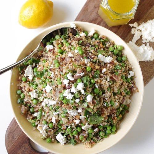 Pea and Quinoa Salad with Lemon Honey Vinaigrette