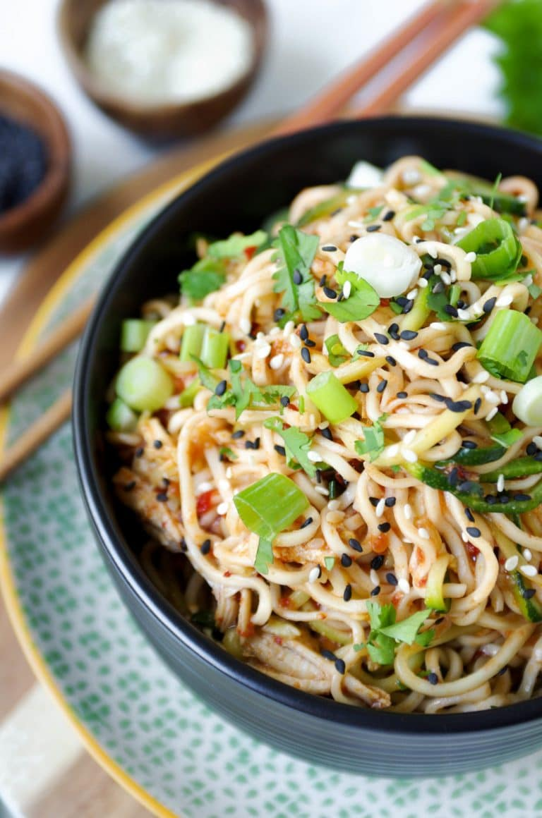 ramen noodles with spicy chili sauce - the forked spoon