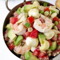 Shrimp and Avocado Bruschetta with Balsamic Glaze