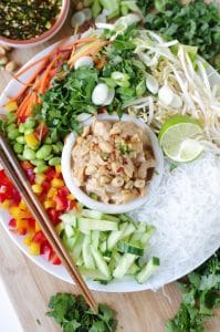 Cold Rice Noodle Salad with Chicken in Peanut Sauce