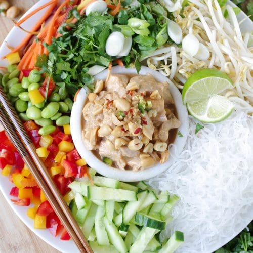 Cold Noodle Salad with Chicken in Peanut Sauce