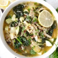 Chicken and Rice Soup with Kale