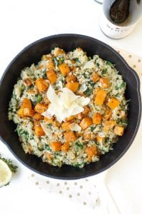 Butternut Squash and Kale Risotto with a Simple Arugula Side Salad