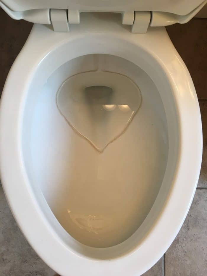 Hard water stained toilet