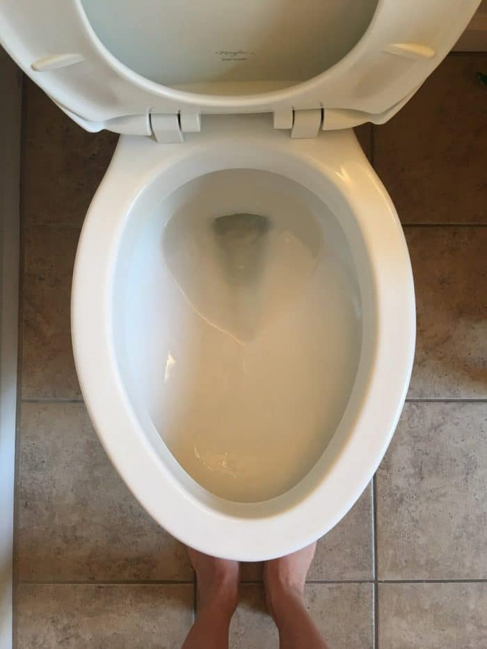 Toilet with hard water removed
