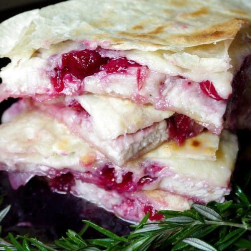 Leftover Cranberry and Turkey Quesadillas with Asiago and White Cheddar Cheese