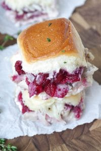 Leftover Turkey Cranberry Sliders with Asiago Cheese