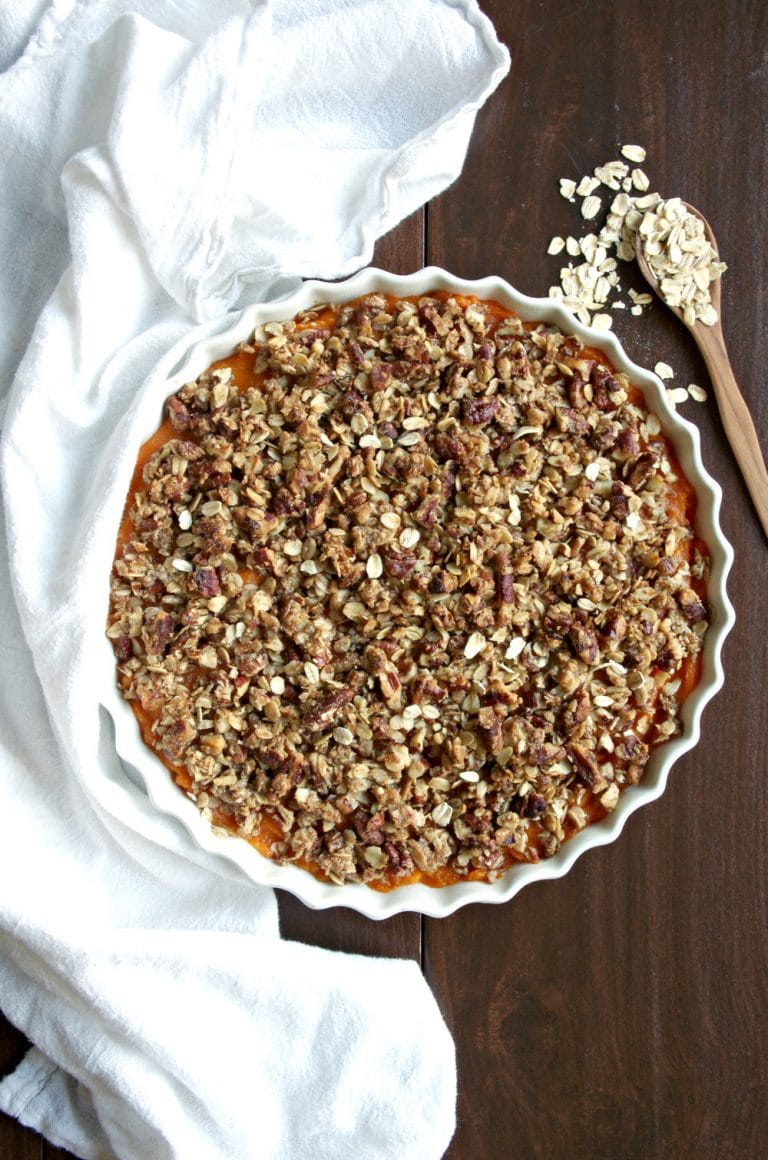 sweet potato casserole with topping plate with oats spoon