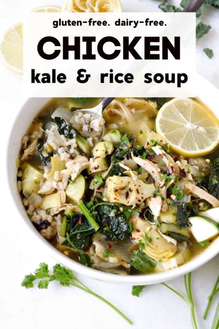 One-Pot Chicken, Kale, and Rice Soup short pin