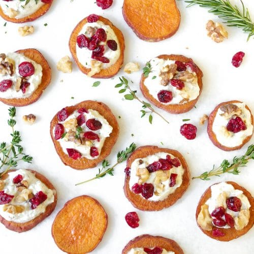 Sweet Potato Rounds with Ricotta, Walnuts, Cranberries and Fresh Herbs