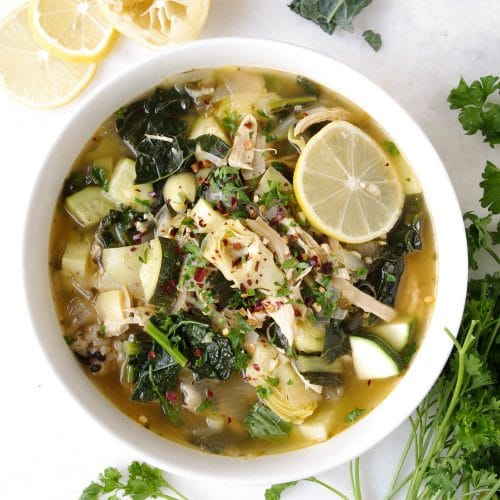 Chicken and Rice Soup with Kale and Artichoke Hearts