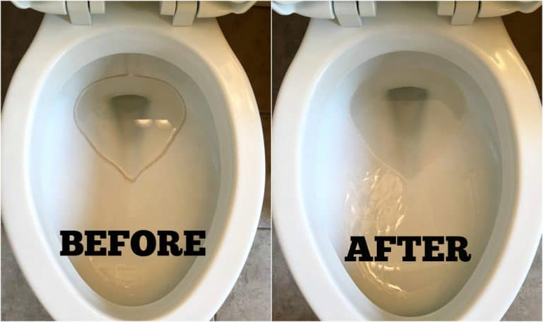 Before Image of a Toilet with Hard Water Ring around the water line in the bowl, with a after cleaning picture next to it showing toilet bowl without hard water stain