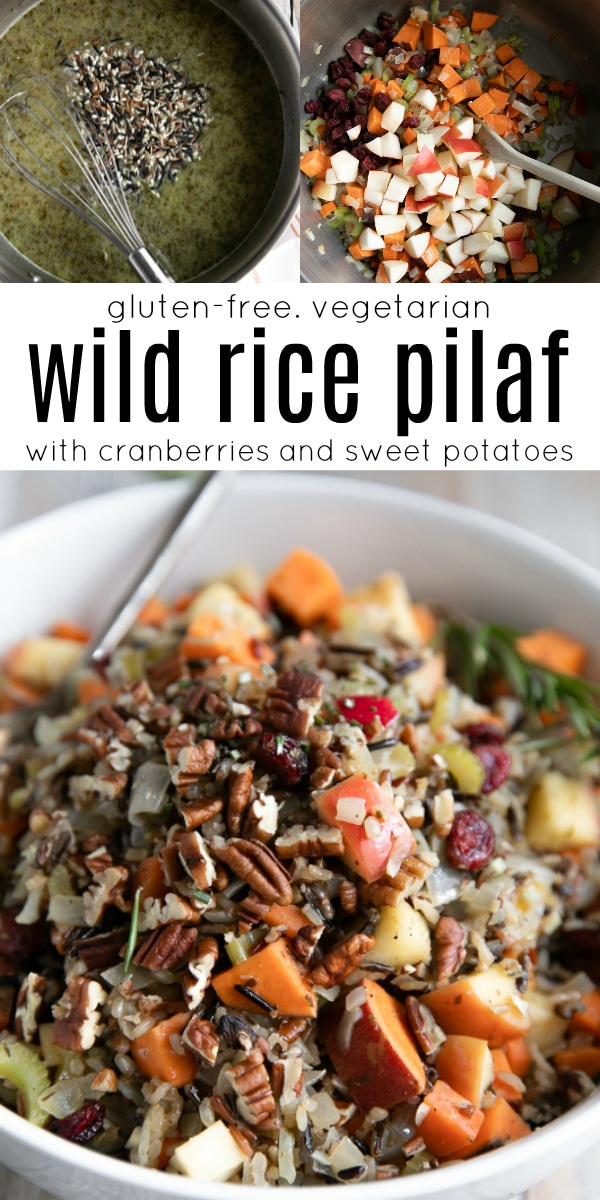 Cranberry Wild Rice Pilaf with Sweet Potatoes #wildrice #wildricepilaf #glutenfree #vegetarian sidedish #easyrecipe #rice #sweetpotatoes | For this recipe and more visit, https://theforkedspoon.com/cranberry-apple-pecan-pilaf-with-sweet-potatoes