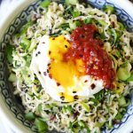 Ginger Garlic Miso Ramen Noodles with Poached Egg