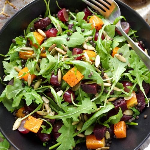 Arugula Salad with Beluga Lentils, Butternut Squash and Grapes