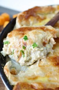 Chicken, Cauliflower and Butternut Squash Skillet Alfredo Pie