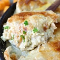 Chicken, Cauliflower and Butternut Squash Skillet Alfredo Pie