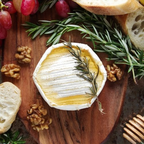 Easy Baked Brie with Honey and Maple Candied Walnuts