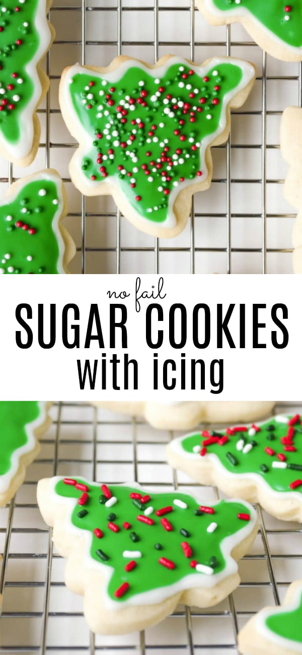 Easy Sugar Cookie Recipe (How to Make Sugar Cookies) #christmascookies #sugarcookies #cookies #icing #howtomakesugarcookies #cookierecipe | For this recipe and more visit, https://theforkedspoon.com/easy-sugar-cookie-recipe