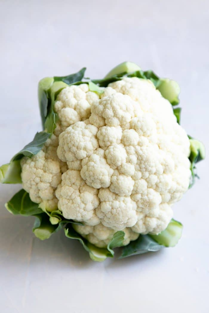 One large head of cauliflower.
