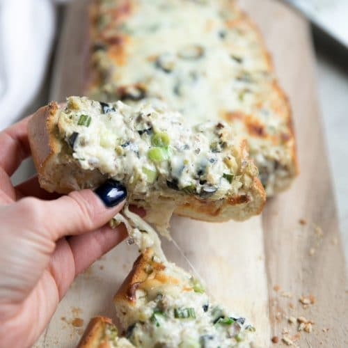 Cheesy Olive Tapenade Stuffed French Bread