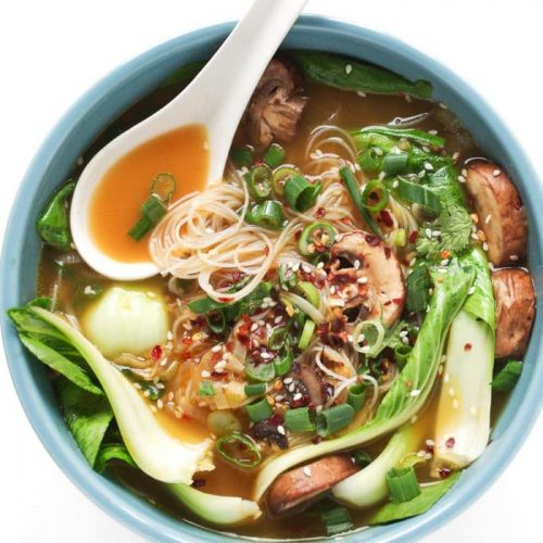Ginger Garlic Noodle Soup with Bok Choy (Bok Choy Soup)