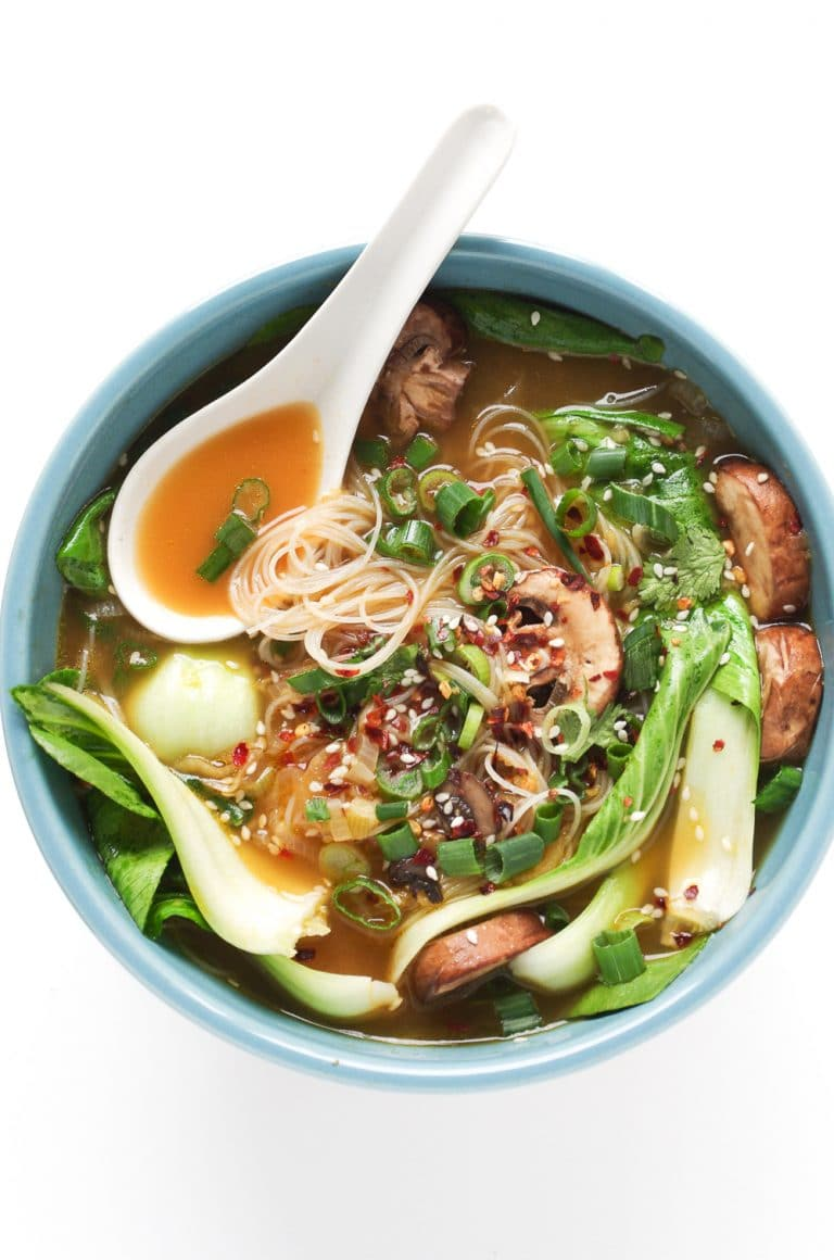 Ginger Garlic Noodle Soup With Bok Choy Bok Choy Soup The Forked Spoon
