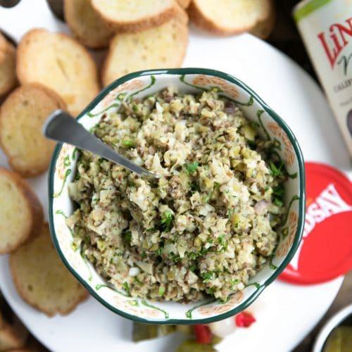Easy Lemony Olive Tapenade Crostini
