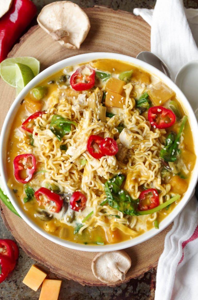 Spicy Thai Pumpkin and Butternut Squash Ramen with Chicken