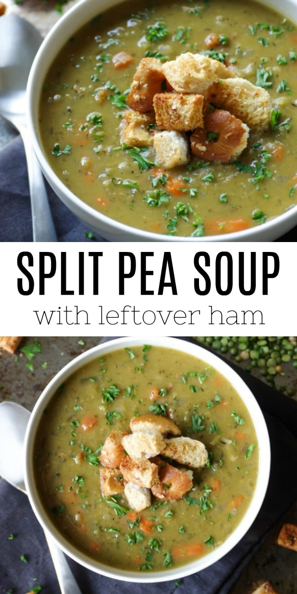 Split Pea Soup with Ham #ham #leftoverhamrecipes #soup #splitpeasoup #souprecipe #easyrecipe #hamrecipes   For this recipe and more visit, https://theforkedspoon.com/split-pea-soup-with-ham
