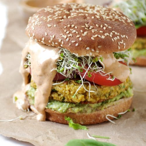 Easy Cauliflower Veggie Burgers with Avocado and Chipotle Mayo