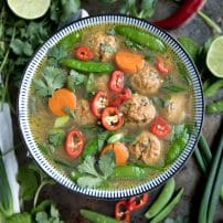 Healthy Thai Veggie Soup with Spicy Thai Meatballs
