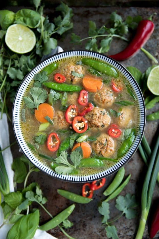 Healthy Thai Veggie Soup with Spicy Thai Meatballs