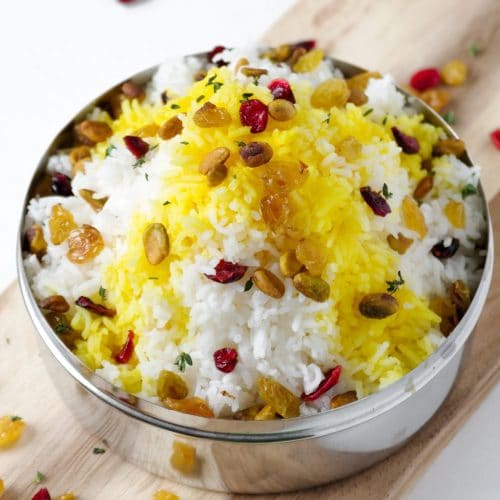 Jasmine Rice with Saffron and Dried Cranberries