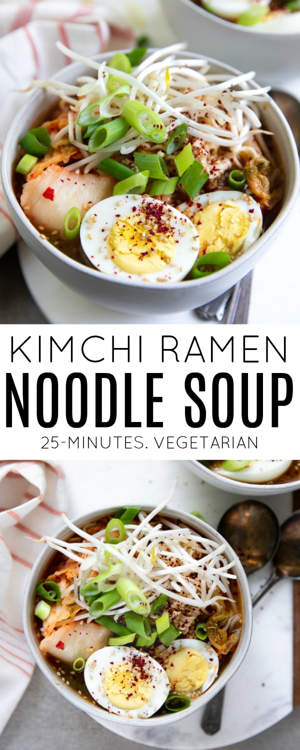Kimchi Ramen Noodle Soup- an easy and flavorful Korean inspired soup made with ramen noodles, fresh greens, hard-boiled egg and, of course, kimchi!  #kimchi #ramen #easydinner #noodlesoup #healthy #ramensoup | For this recipe and more visit, https://theforkedspoon.com