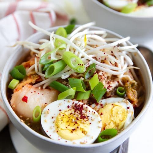 A bowl of Kimchi Ramen Noodle Soup
