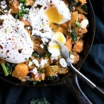 Sweet Potato + Butternut Squash Hash with Feta and Poached Egg