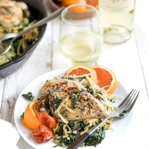 Chicken and Spinach Linguini Skillet with Roasted Cherry Tomatoes