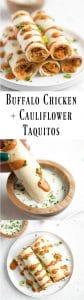 long pin showing Buffalo Chicken and Cauliflower Taquitos dipped in sauce
